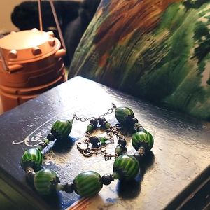 Jade, Obsidian, Silver and Hand-blown Strand